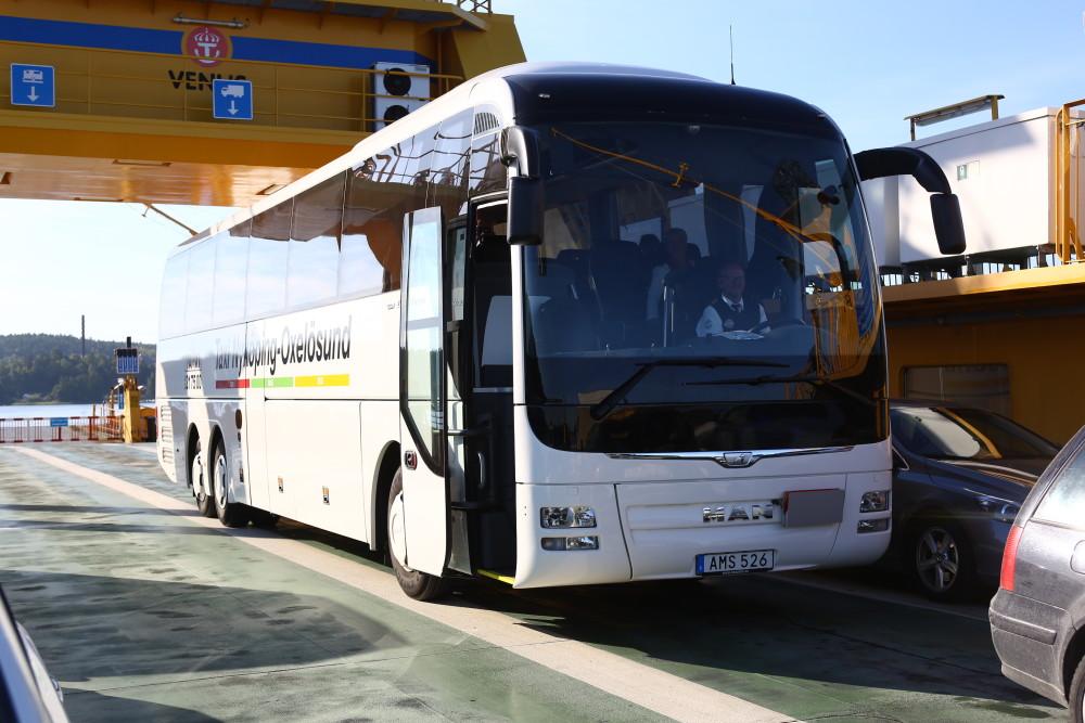 Tack Nyköpings Taxi som skjutsade oss i sin fina buss. Här på färjan över till Ekerö.